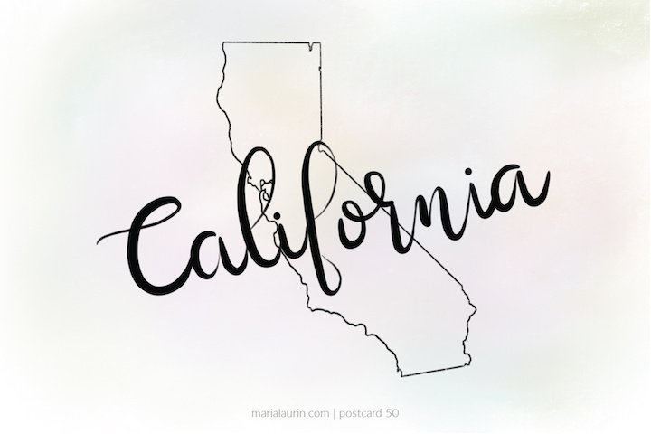 Free California Printable- Postcard 50
