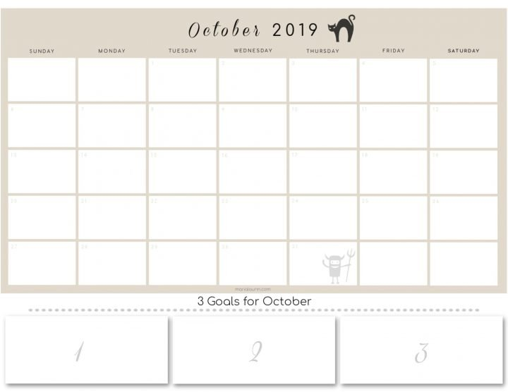 October 2019 calendar with goals section