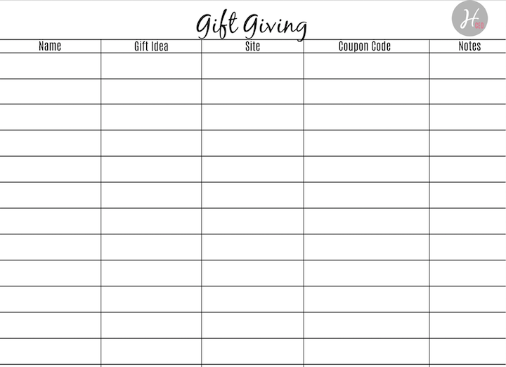 Gift Giving Printable